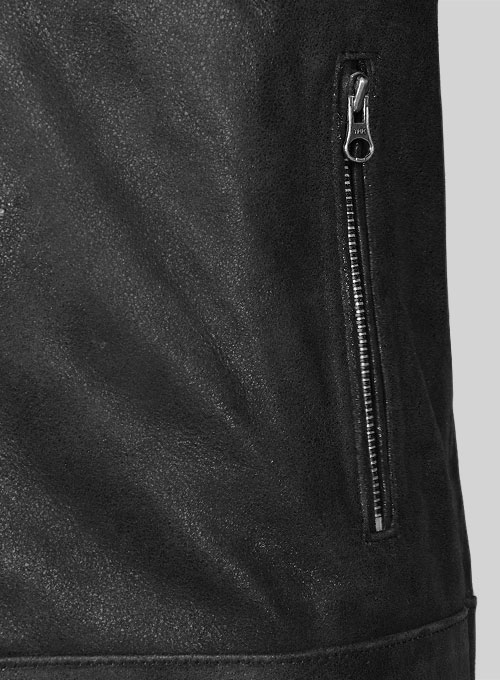 Distressed Black Leather Jacket # 112