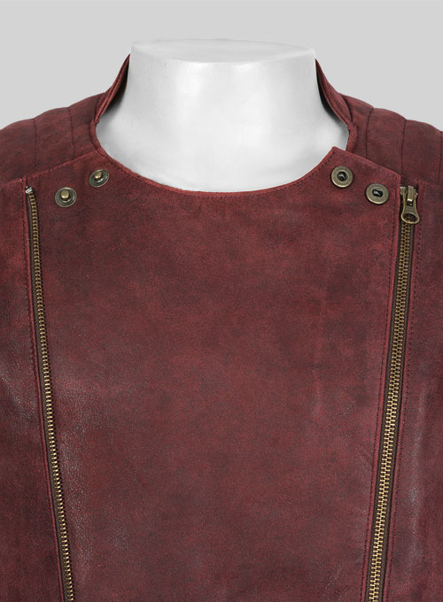 Dark Vintage Red Leather Jacket # 645