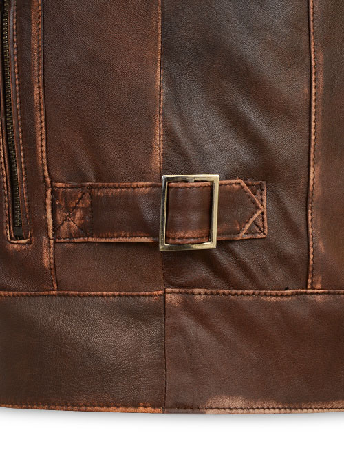 Espresso Rubbed Tan Leather Jacket