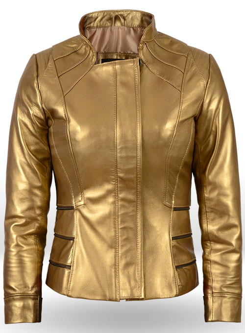 Golden Fitted Leather Jacket # 521