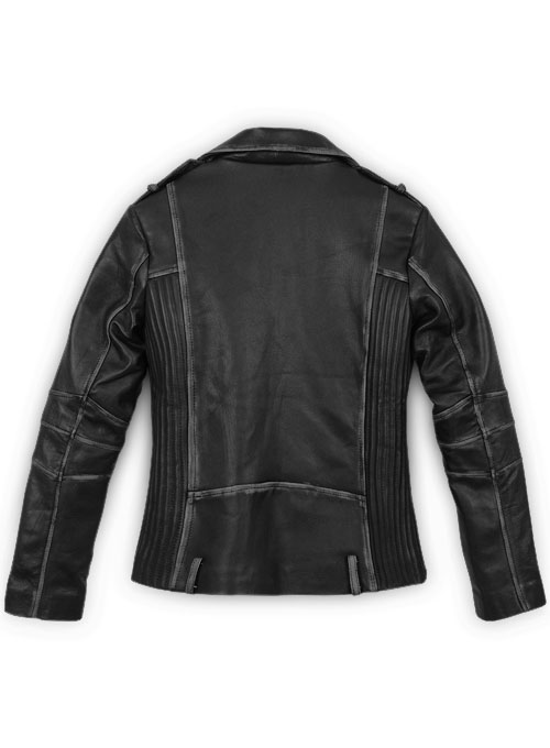Rubbed Black Leather Jacket # 234