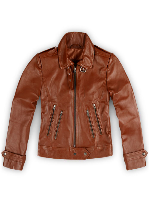 Tan Brown Leather Jacket # 219