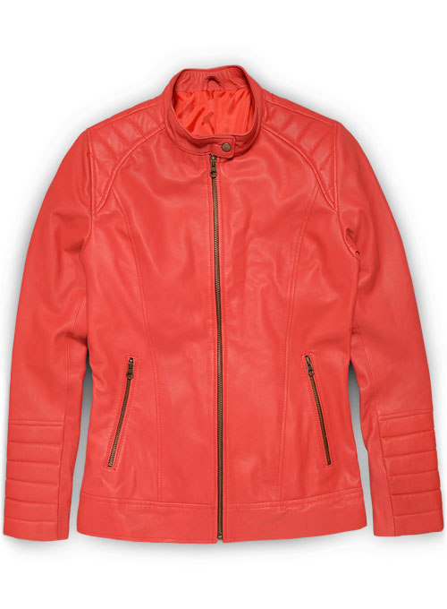 Soft Tango Red Ellie Leather Jacket