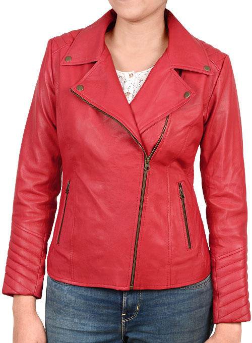 Soft Raspberry Red Oxley Leather Biker Jacket