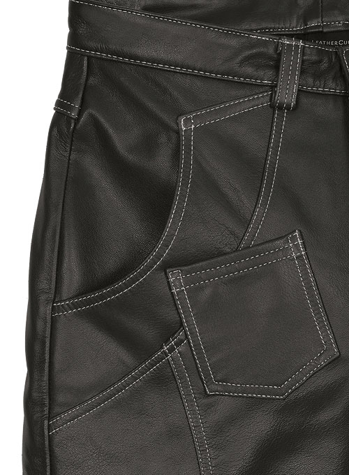 Thick Goat Charcoal Leather Cargo Jeans - Style 9-5