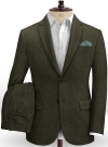 Vintage Flat Green Herringbone Tweed Suit