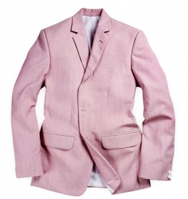 Stripe Pink Wool Linen Jacket- 38R