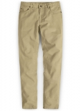 Beige Feather Cotton Canvas Stretch Jeans
