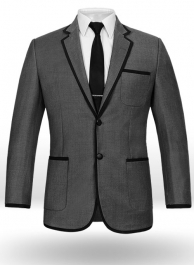 Napolean Mid Charcoal Wool Jacket - Black Trims