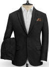 Vintage Plain Black Tweed Suit