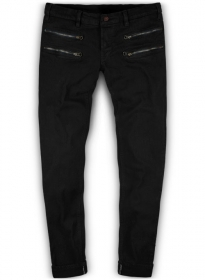 Twiggy Double Zipper Black Jeans