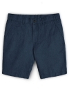 Safari Blue Cotton Linen Shorts