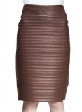 Front Ribbed Leather Skirt - # 489