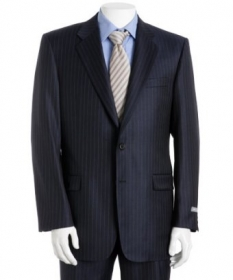 Navy Blue Pinstripe Merino Wool Jacket