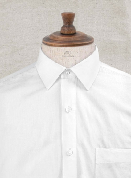 Italian Cotton Linen Tuia White Shirt - Full Sleeves