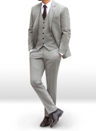 Worsted Light Gray Wool Suit