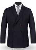 Blue Merino Wool Double Breasted Style Jacket