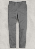 Gray Feather Cotton Canvas Stretch Chino Pants