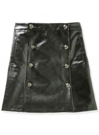 Button Pleat Leather Skirt - # 449