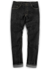 Stretch Cross Hatch Black Jeans - Hard Wash