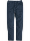 Royal Blue Feather Cotton Canvas Stretch Jeans
