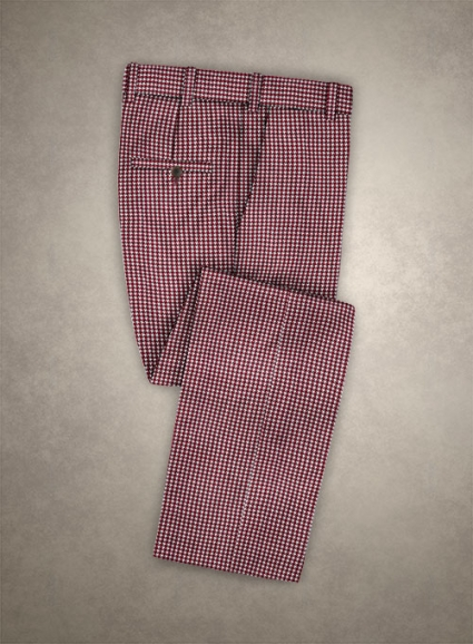 Reda Carmine Red Houndstooth Wool Pants