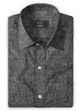 Roman Black Denim Linen Shirt - Full Sleeves