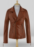 Tan Brown Jennifer Aniston Leather Jacket