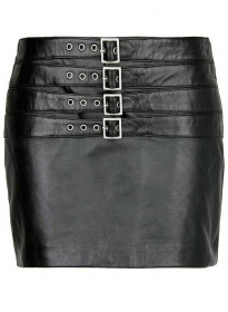 Bossy Buckle Leather Skirt - # 443