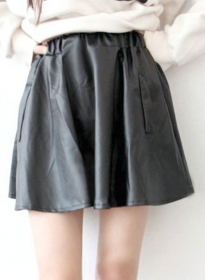 Swing Flare Leather Skirt - # 481
