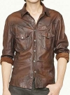 V Tab Leather Shirt Jacket