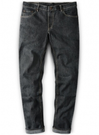 Stretch Cross Hatch Black Jeans - Denim-X