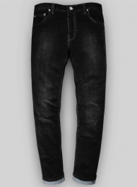 Slate Black Corduroy Stretch Jeans - Treated Hard Wash