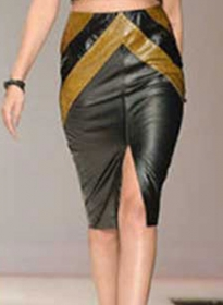 Split Leather Skirt - # 460