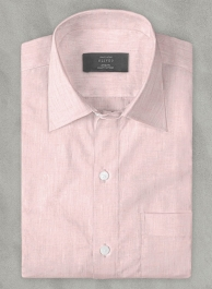 Roman Light Pink Linen Shirt - Full Sleeves