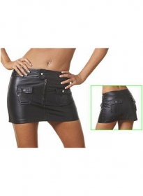 Flap Pocket Leather Skirt - # 122