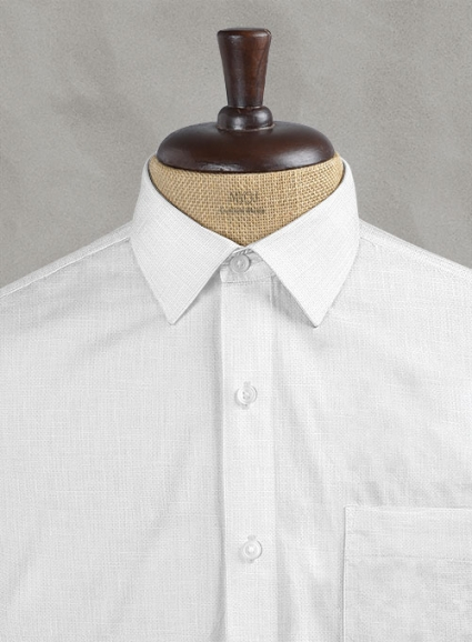 Italian Cotton Dobby Orlini White Shirt - Full Sleeves
