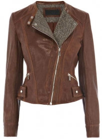 Tweed Leather Combo Jacket # 264