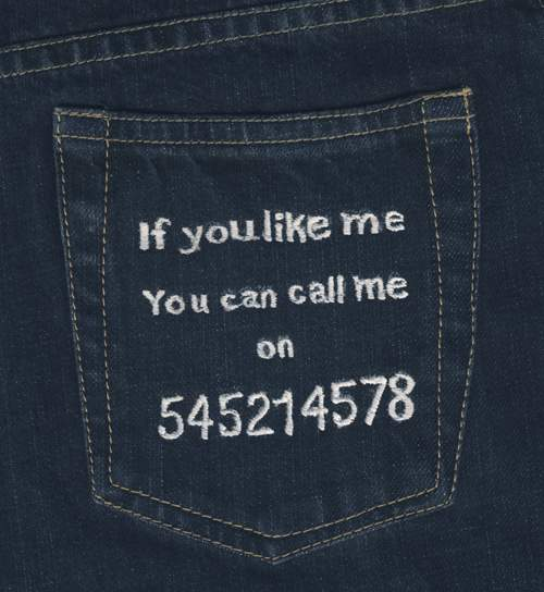 Message on back pocket