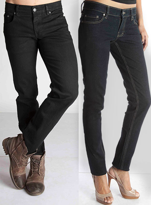 Stretch Jet Black Overdyed Jeans - 12oz Ring Denim