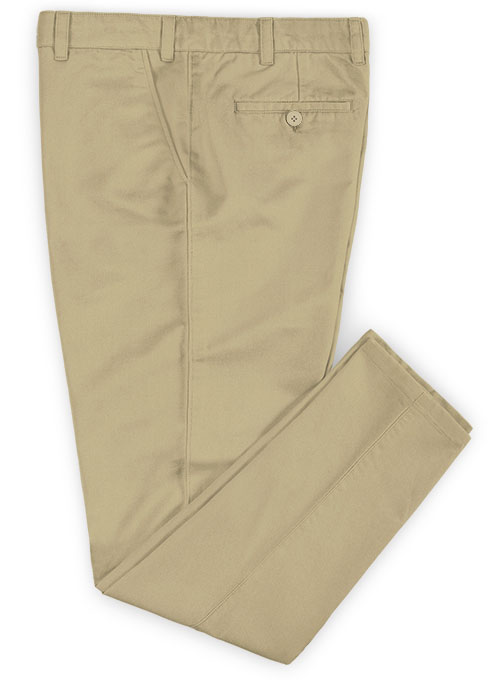 Beige Feather Cotton Canvas Stretch Chino Pants - Click Image to Close