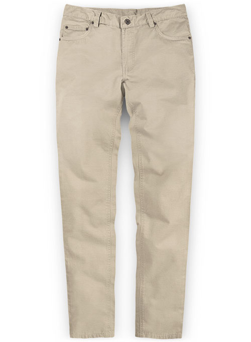 Beige Super Cotton Stretch Chino Jeans