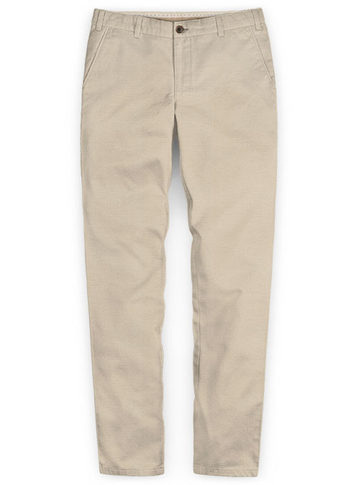 Beige Super Cotton Stretch Chino Pants