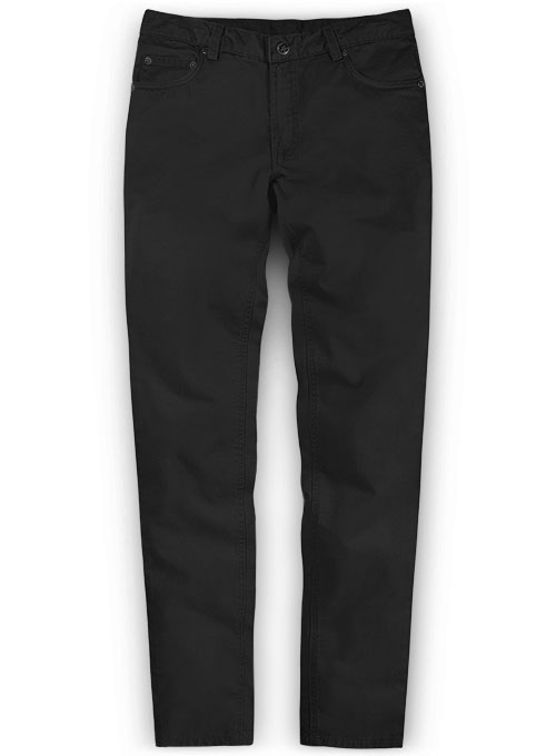 Black Feather Cotton Canvas Stretch Jeans