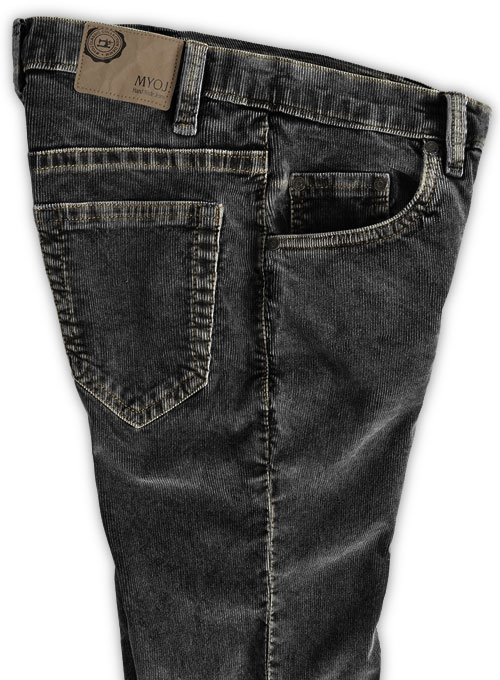 Slate Black Corduroy Stretch Jeans - Blast Wash - Click Image to Close