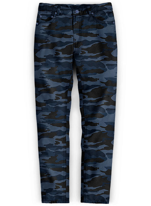 Blue Stretch Camo Jeans