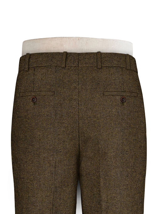 Bottle Brown Herringbone Tweed Pants - Click Image to Close