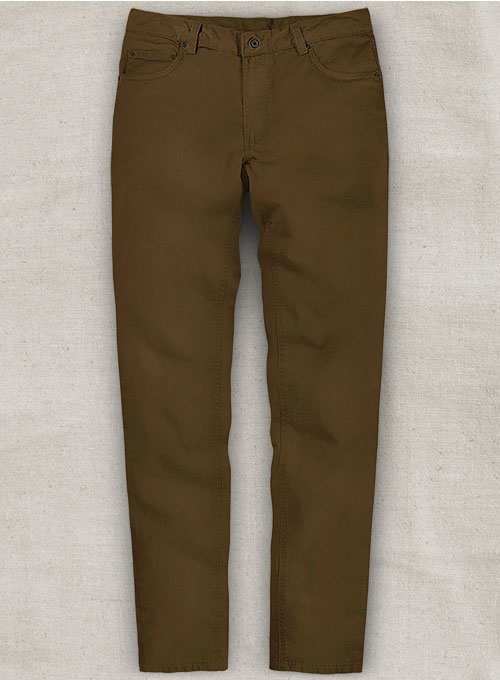 Brown Feather Cotton Canvas Stretch Jeans