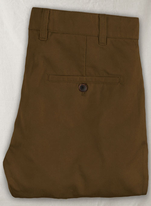 Brown Feather Cotton Canvas Stretch Chino Pants - Click Image to Close