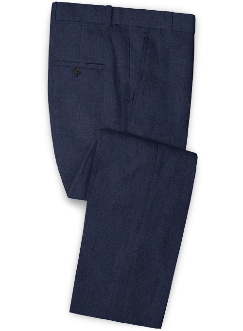 Dark Blue Pure Linen Pants